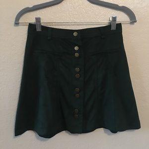 Zara Green velvet mini skirt sz XS